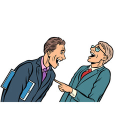 two businessmen meeting laughing isolate on white vector image