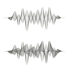 two monochrome sound waves on white background vector image