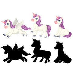 unicorn with its silhouette vector image