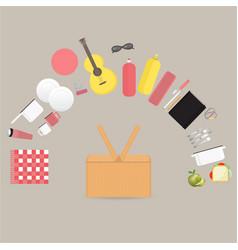 vegan picnic setautdoor set with picnic basket vector image