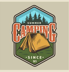 Vintage camping colorful badge vector