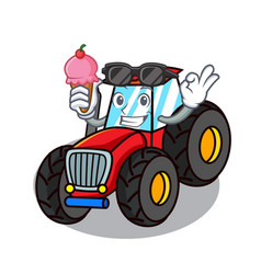 With ice cream tractor character cartoon style vector