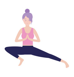 woman and yoga vector image