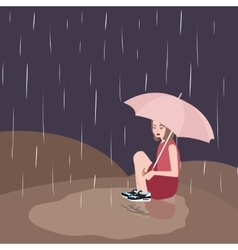 woman in rain sad under dark sky umbrella vector image
