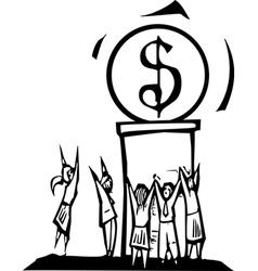 Worshiping money vector