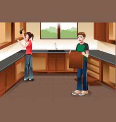 Young couple installing kitchen cabinets vector