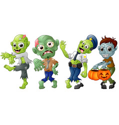 Zombie cartoon halloween costumes vector