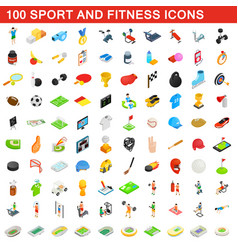 100 sport and fitness icons set isometric style vector image