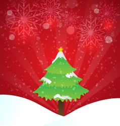 Christmas Tree With Red Background And Snowflakes vector image vector image