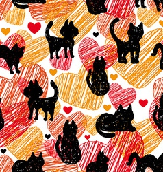 Seamless pattern Black silhouettes of cats on vector image