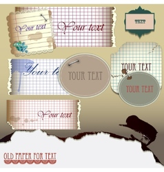 set old paper for text vector image vector image