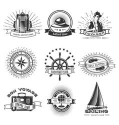 vintage monochrome traveling labels set vector image vector image