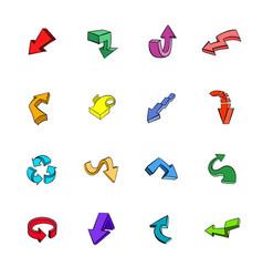 arrows icons set cartoon vector image