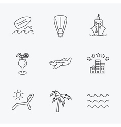 Cruise waves and cocktail icons Hotel sign vector image vector image
