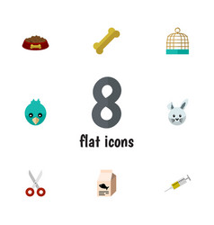 flat icon pets set of osseous fish nutrient dog vector image vector image