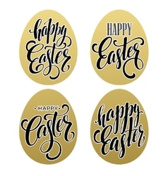Happy easter Calligraphic lettering egg golden vector image vector image