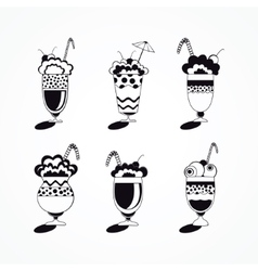 Ice cream in glass desserts vector image
