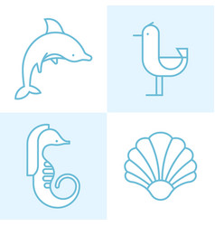 marine animals vector image vector image