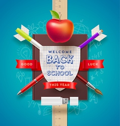 Back to school coat of arms vector image vector image