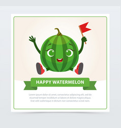 cute humanized watermelon character happy vector image