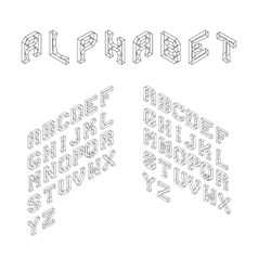 Isometric Latin Alphabet Wireframe Letters 3D vector image