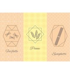 Set linear pasta Italian cuisine flyers vector image vector image