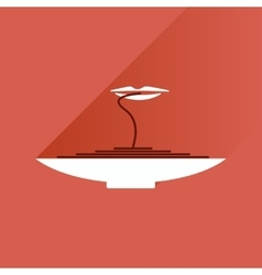Flat with shadow icon plate spaghetti lips vector