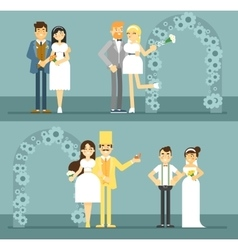 Happy bride and groom couple set vector image