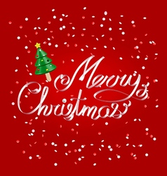 Merry Christmas greetings white ribbon lettering vector image