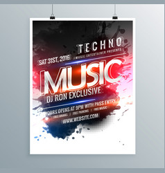 music party promotional flyer poster template vector image