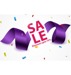 sale banner with ribbon and confetti vector image vector image