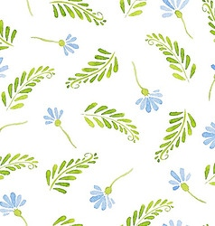 Seamless Patterns with watercolor cornflowers vector image