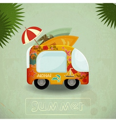 Summer Travel Bus in retro Style vector image vector image