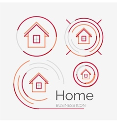 Thin line neat design logo set home idea vector image vector image