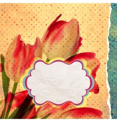 Vintage card Tulip on polka dot background EPS 10 vector image