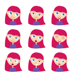 woman with different emotions set vector image