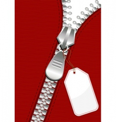 zipper with tag vector image vector image