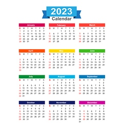 2023 Year calendar isolated on white background vector image