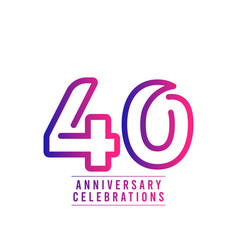 40 years anniversary celebration number text vector