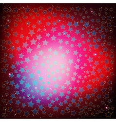 Abstract red christmas background with blue stars vector
