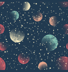 Abstract seamless pattern space constellations vector