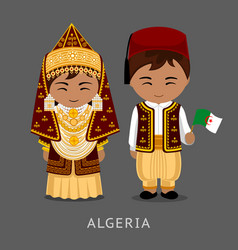 Algerians in national dress with a flag vector