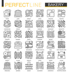 bakery outline mini concept symbols pastry food vector image