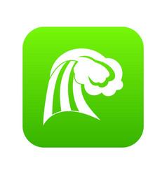 big wave icon digital green vector image