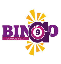 Bingo promotional emblem witn numbered ball and vector