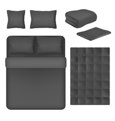 black bed linen mockup set isolated vector image