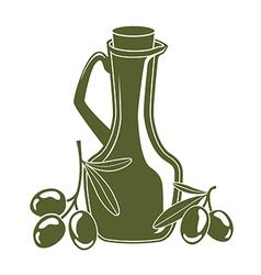 Bottle of olive oil and olive branch vector