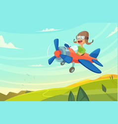 boy flying in airplane funny cartoon vector image
