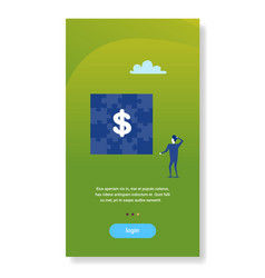 businessman looking puzzle jigsaw dollar sign vector image