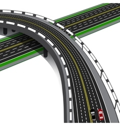 Car overpass crosses the highway Road interchange vector